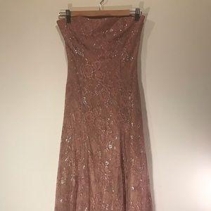 Long pink lace dress
